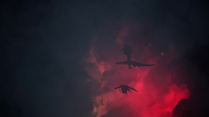 Group of Dragons Flying Through a Lightning Storm