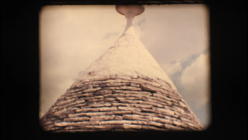 Vintage 8mm. Roof of a trullo, a traditional apulian dry stone hut