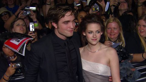 Los Angeles, CA - NOVEMBER 17, 2008: Kristen Stewart, Robert Pattinson, walks the red carpet at the The Twilight Saga: Twilight Premiere held at the Mann Village Theatre