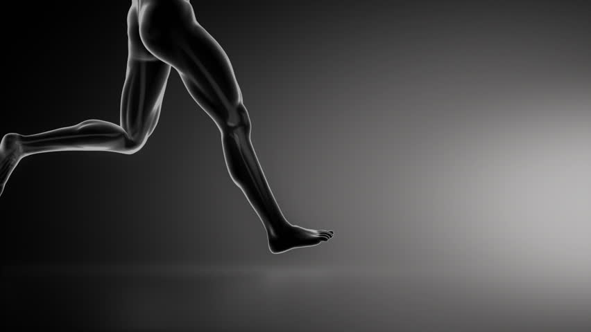 Running man with knee joint detail lateral view