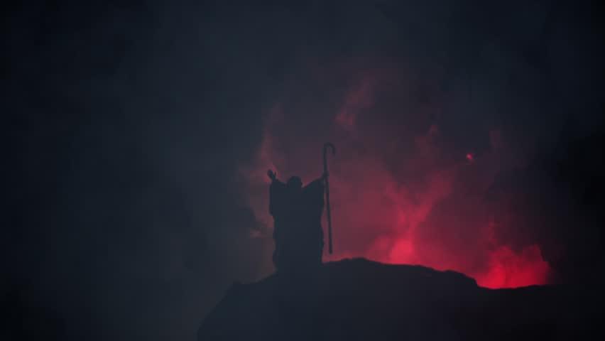 Moses and God on Sinai Mountain