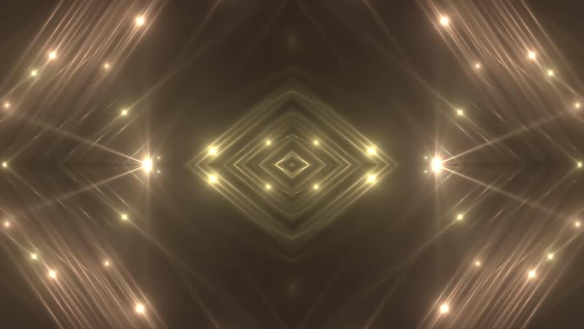 VJ Fractal gold kaleidoscopic background. Background orange motion with fractal design. Disco spectrum lights concert spot bulb. Light Tunnel. Seamless loop.