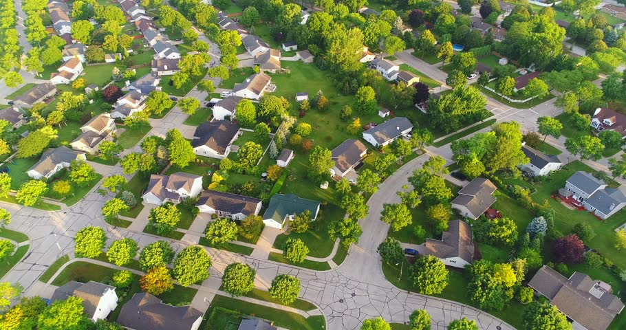 Beautiful neighborhood in summer, at sunrise, moving aerial view.  | Shutterstock HD Video #29594464