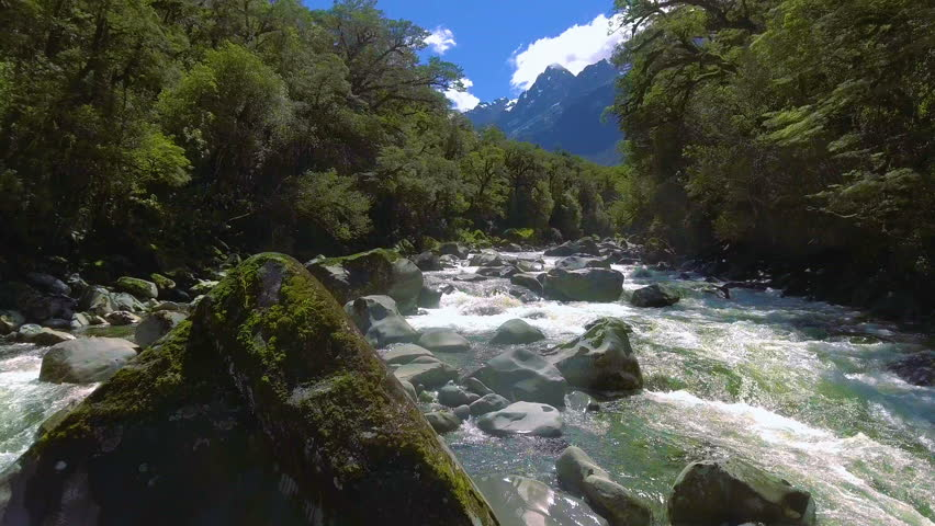 Aerial Landscape Of Fiordland New Zealand Tutoko River Near Milford Sound Drone