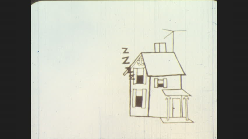 1960s: Animation: Z's float up from house window. Overlays of stripes, arrows, squiggles, bars, pulsing polka dots. Z's float up from house as sky darkens. Circle bounces, becomes talking owl.