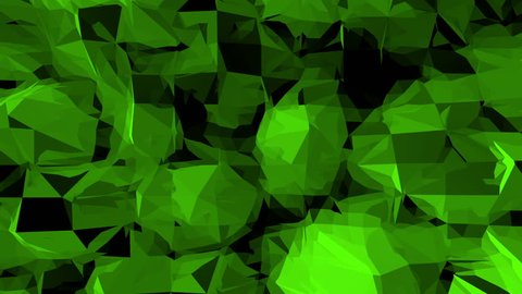 Green low poly background pulsating. Abstract low poly surface as CG background in stylish low poly design. Polygonal mosaic background with vertex, spikes. Cool modern 3D design