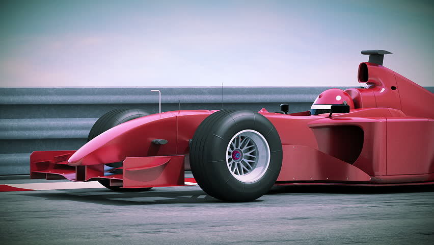 Formula One Red Race Car in Slow Motion. 5 videos in 1. Beautiful 3d animation. Loopable. HD 1080.