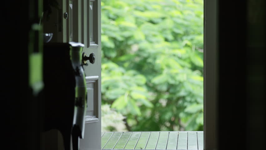 Front Door Entrance Area Looking Out To Garden Stock Footage Video ...