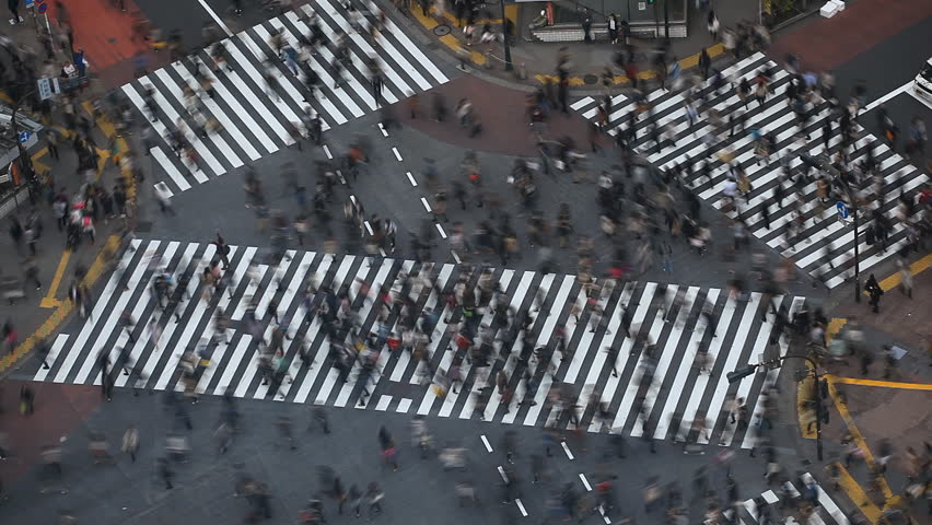 Time Lapse People Crowd Shopping Street Aerial View Pedestrians Crossing Shibuya Crosswalk Car Traffic Tokyo City Tokio Japan Japanese Anonymous Sidewalk Busy Asian Famous Tourist Attraction Rush Hour