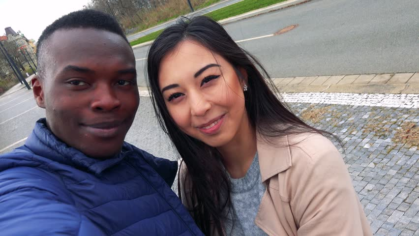 Happy Couple Kiss And Smile To Camera - Black Man And -6339