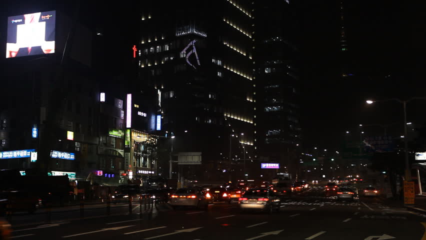 SEOUL, SOUTH KOREA - APRIL 22, 2012 Seoul City Center, Central Area Road, Skyscrapers, Asia Night Shopping, South Korea | Shutterstock HD Video #2969314
