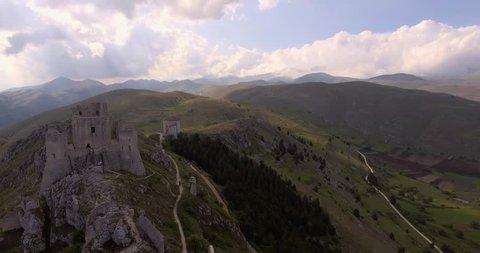 Aerial, Rocca Calascio, an ancient mountaintop fortress in Abruzzo, Italy, 4K