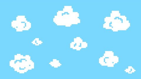 Old School 2D Retro Arcade Video Game Moving Clouds on a Blue Sky. Vintage Computer Background Footage. 4K