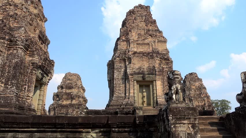 Panning shot of the center part of East Mebon temple with its 5 main structures. #29738734