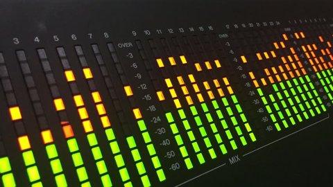 Digital VU meter on audio mixer closeup