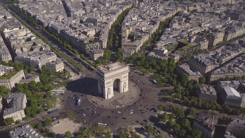 Summer day paris cityscape famous arch de triumph traffic circle aerial panorama 4k time lapse france