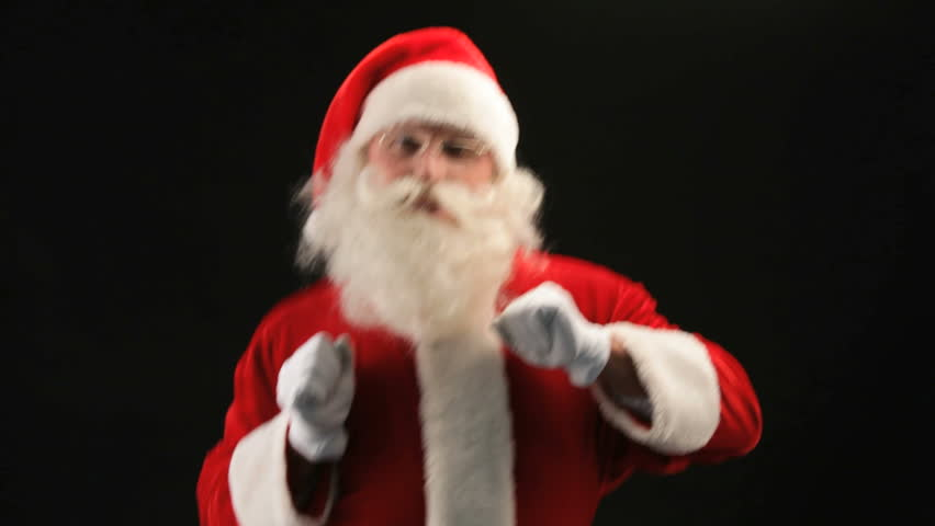 Cheerful Santa Claus partying on Christmas eve