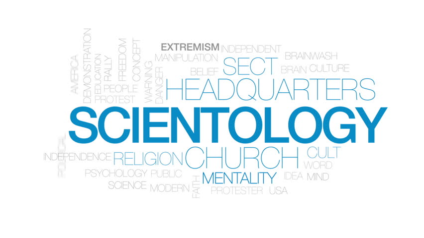Scientology animated word cloud, text design animation. Kinetic typography.