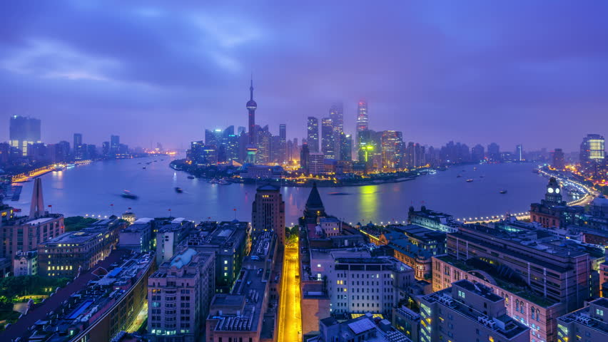 "Zoom in Timelapse: China Shanghai Skyline from Dawn to Sunrise. Original Size 8k (7680x4320).  - >>> Please search similar: "" ShanghaiSkyline "" ."