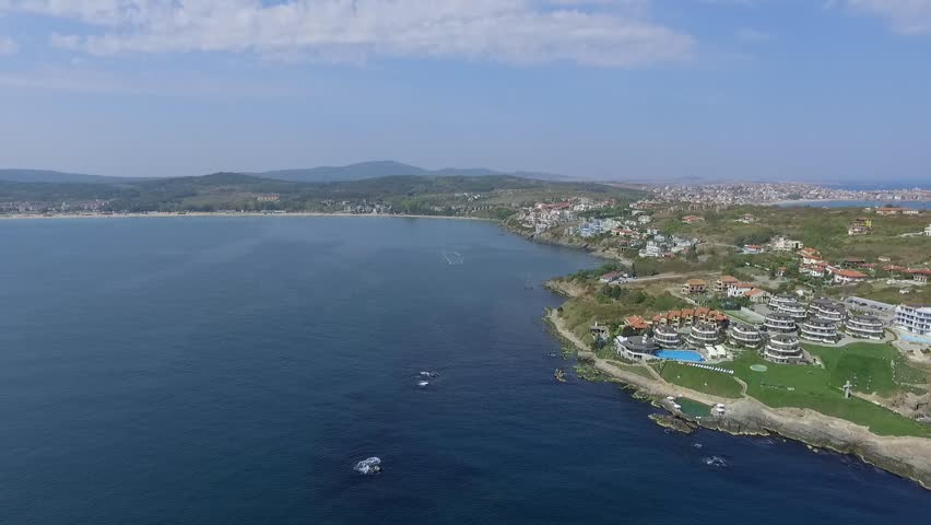 Black sea town of Sozopol near Burgas shotted by drone in summer with sandy beaches