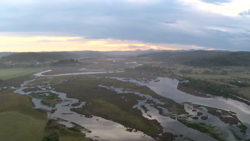 Drone reveal of river and lake near Knysna, South Africa