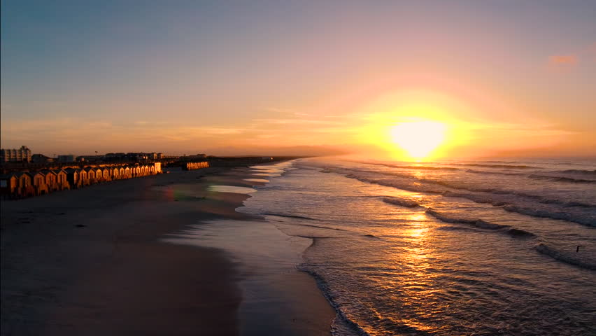 Muizenberg beach in South Africa with sunrise | Shutterstock HD Video #29802364