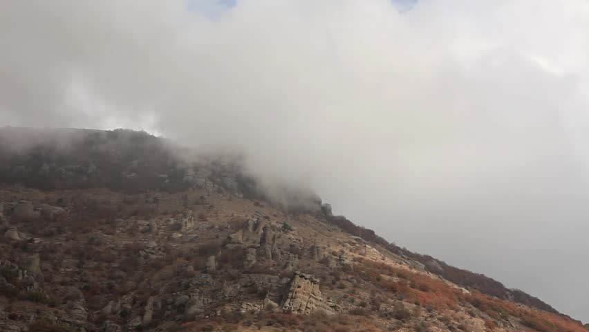 Movement of the clouds on the mountain Demerdji. Alushta, Crimea, Ukraine (TimeLapse)