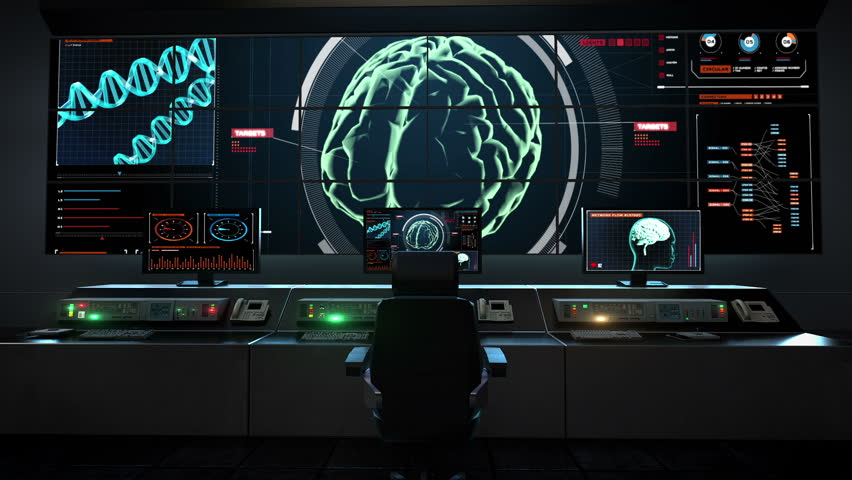 Ultra high resolution footage of blue futuristic interface for Futuristic control room