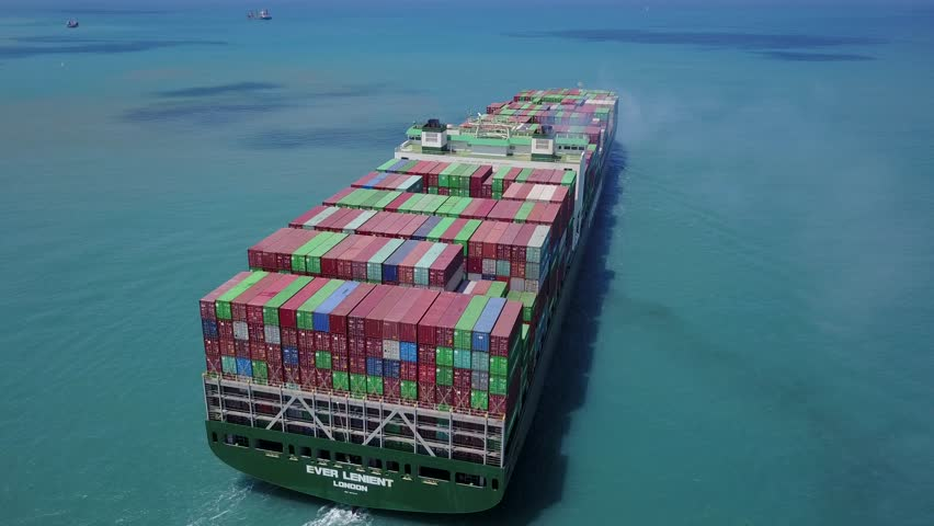 Haifa, Israel - 18 Aug, 2017: a big large huge container ship sails on open water fully loaded with containers and cargo - aerial 4k view - ever LENIENT | Shutterstock HD Video #29936134