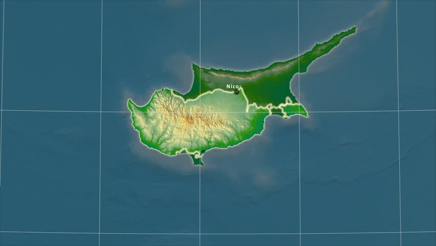 Cyprus map stock footage video shutterstock the cyprus area map in the azimuthal equidistant projection layers of main cities capital sciox Gallery