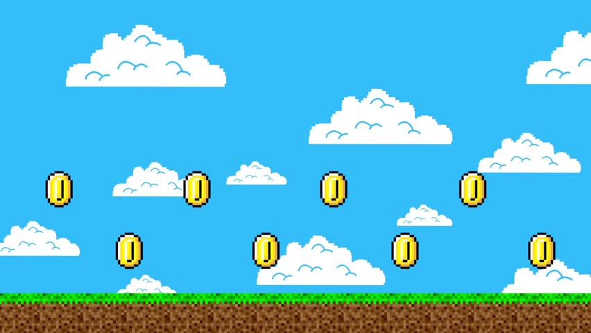 Trail of Gold Coins in a Arcade Video Game