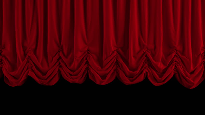 Red Stage Curtain. High quality computer animation.