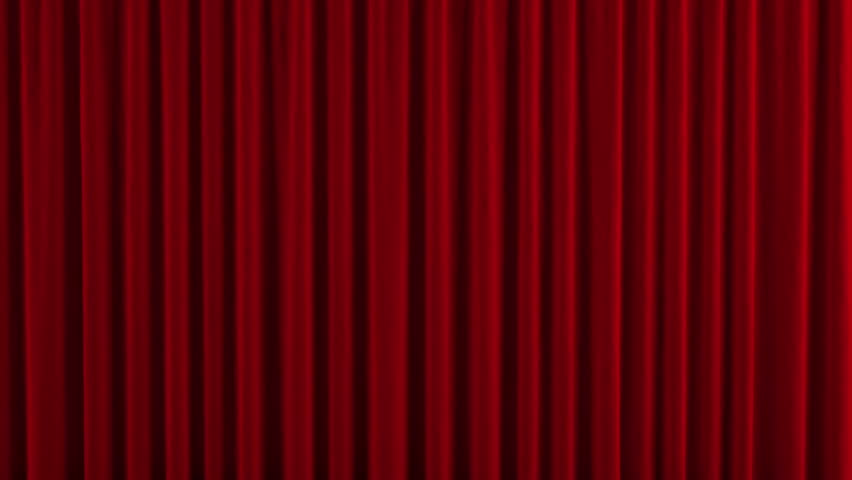 Red theater curtain. High quality computer animation.