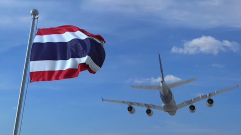 Commercial airplane landing behind waving Thai flag. Travel to Thailand conceptual animation