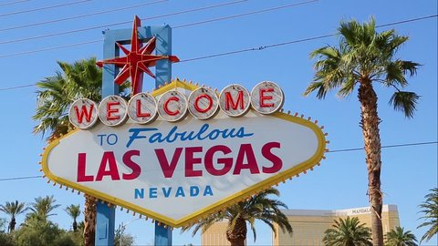Welcome to Las Vegas sign on a bright sunny day closeup. Welcome to Fabulous Las Vegas sign by day, Nevada. Welcome sign at the start of the famous Las Vegas Strip. Welcome to Las Vegas, street sign.