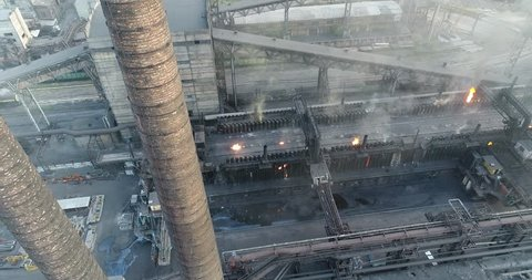 Coke Ovens & Coal Chemical Plant, Coke Oven By-Product Plant, the coke oven by-product plant, Coke oven gas treatment, build industrial, Industrial exterior, View from above, Panoramic view