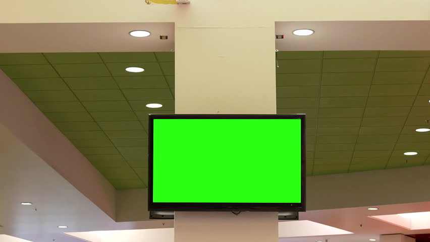 Motion of green screen tv for your ad on wall at food court area inside shopping mall with 4k resolution | Shutterstock HD Video #30075514