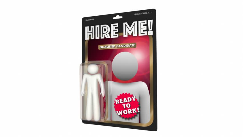 Hire Me Qualified Job Candidate Action Figure Worker 3d Animation