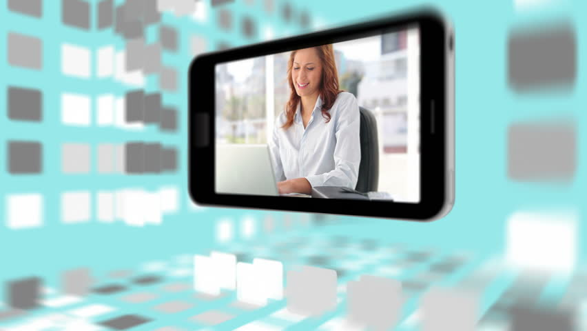 Videos of business people using computers on a smartphone screen digitally created