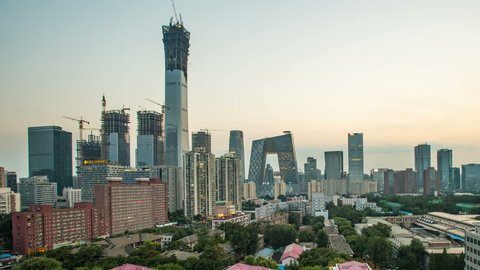 T/L Beijing downtown skyline from day to night.