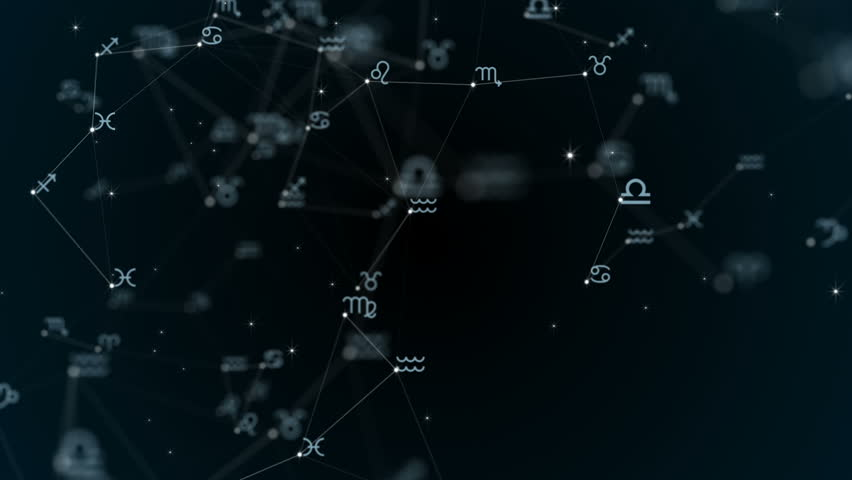 Beautiful plexus with zodiac signs, stars. Group of stars forming a constellation. Loop Animation. #30118204