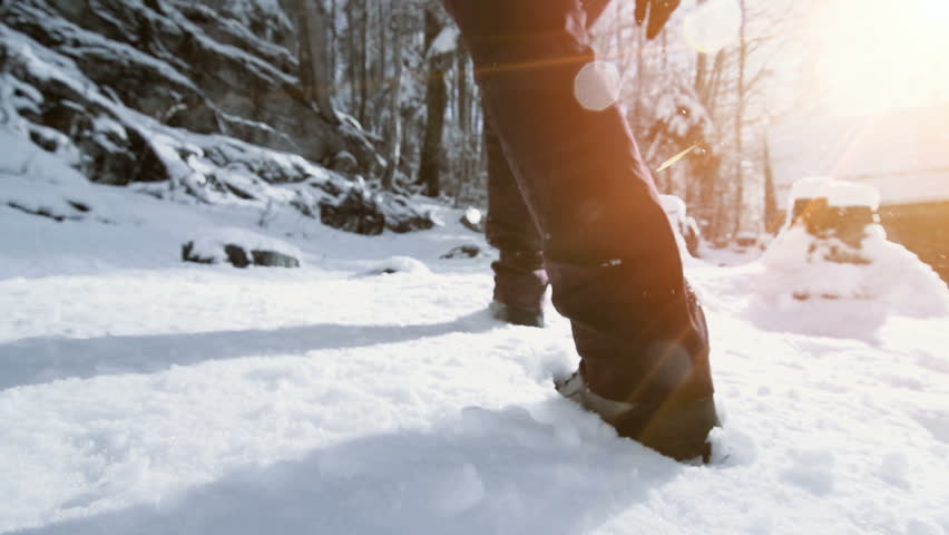 snow hiking walking foot steps feet slow motion #30130024