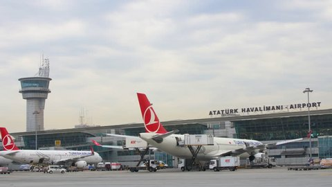 Istanbul, Ataturk Airport. CIRCA June 2017: Front of Ataturk Airport and control tower. View from the Landing Track.