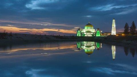 Night to day with reflection at Malacca Straits Mosque 4k Timelapse (Masjid Selat Melaka), Malacca, Malaysia.