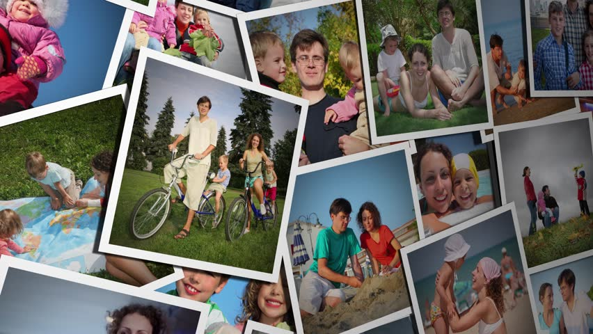 Pile of many photos with a family of four, collage 4K