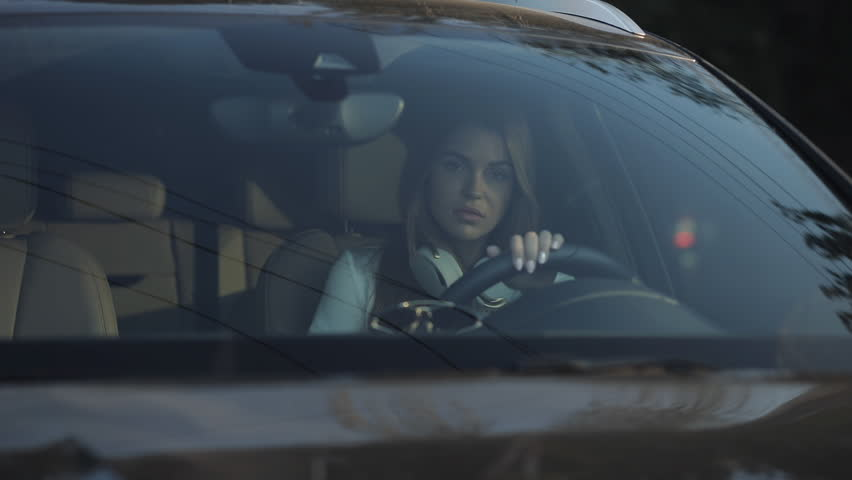 Luxury woman sit down in car and close a door, she ready to driving | Shutterstock HD Video #30178285