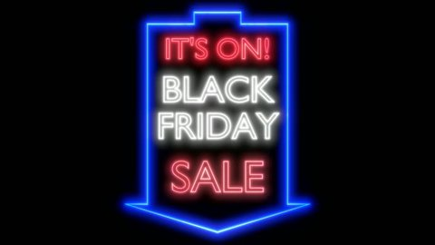 Black friday sale neon sign on dark background. 3D rendering, white and blue variant, UHD.