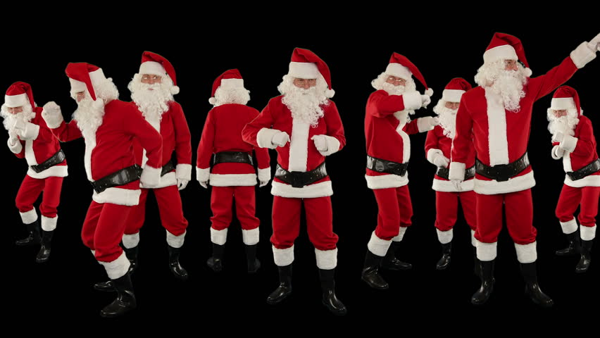 Bunch of Santa Claus Dancing Against Black, Christmas Holiday Background   Shutterstock HD Video #3018694