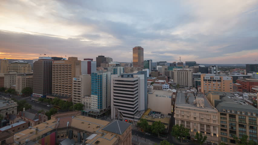 ADELAIDE, AUSTRALIA OCT 24, 2015: Skyline 4K Timelapse at sunset from an elevated view