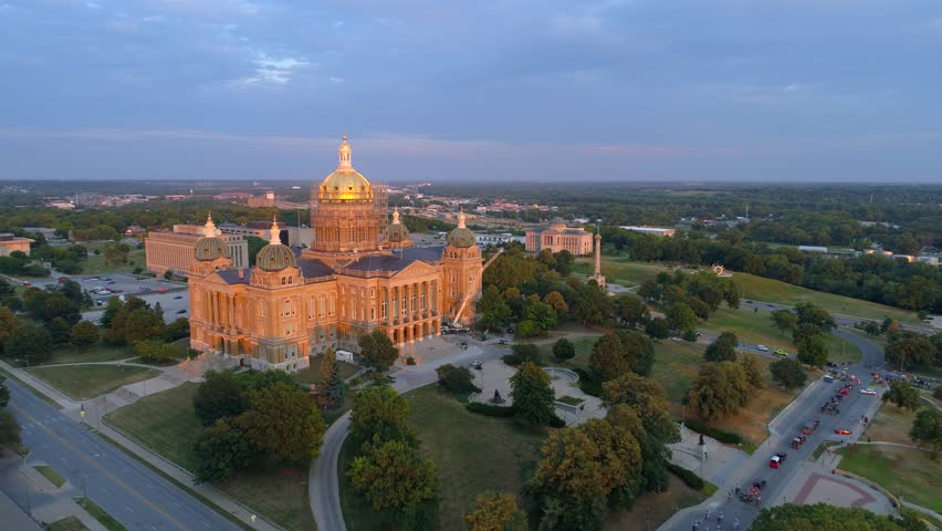Aerial video of the Iowa State Capitol Building under repair 2017